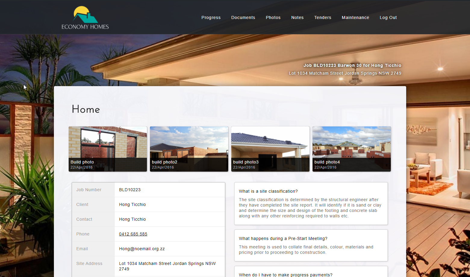 MyHome Client Portal For Home Builders - ClickHome